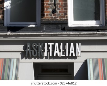 Newbury, Market Place, Berkshire, England - October 10, 2015: Ask Italian restaurant, company founded by brothers Adam and Samuel Kaye in 1993