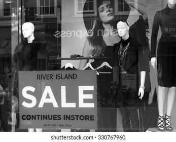 Newbury, Northbrook Street, Berkshire, England - August 21, 2015: River Island ladies and gentlemens high street fashion store