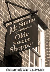 Newbury, Northbrook Street, Berkshire, England - October 10, 2015: Mr Simms olde sweet shoppe sign over premises, traditional confectionary retailer