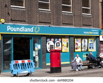 Newbury, Northbrook Street, Berkshire, England - June 16, 2017: Poundland shop, company founded in 1990 by Dave Todd and Stephen Smith