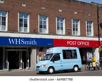 Newbury, Northbrook Street, Berkshire, England - June 16, 2017: W H Smith, British retailer selling books, stationery, magazines, newspapers and entertainment products