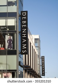 Newbury, Parkway Shopping Centre, Berkshire, England - December 23, 2015: Debenhams department store name on side of retail building