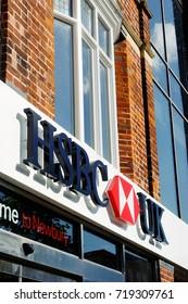 Newbury, UK - August 27 2017:  The exterior of the Newbury branch of HSBC bank