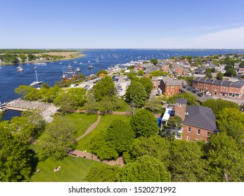 Newburyport historic downtown including Merrimack Street and Waterfront Promenade Park with Merrimack River at the background aerial view, Newburyport, Massachusetts, MA, USA.