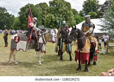 Newby Hall, Ripon, Yorkshire, England U.K. July 22nd 2018. Knights of the North Jousting Demonstrating at Aldborough & Boroughbridge show