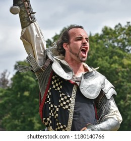 Newby Hall, Ripon, Yorkshire, England U.K. July 22nd 2018. A victorious Knight celebrates victory during the Knights of the North Jousting Demonstrating at Aldborough & Boroughbridge show