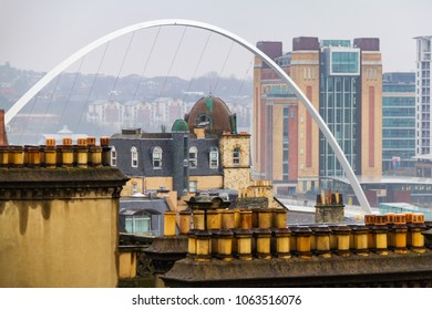 Newcasstle city Skyline with Millennium Bridge and The Baltic Centre for Contemporary Art at Newcastle Quayside in view