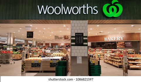 Newcastle, Australia - February 2018:  front shop view of Woolworths Supermarkets. This is an Australian supermarket/grocery store.