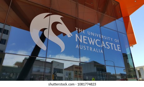 """Newcastle, Australia - February 2018: The University of Newcastle (UoN) is an Australian public university established in 1965. Image shows """"New Space"""" located in CBD."""
