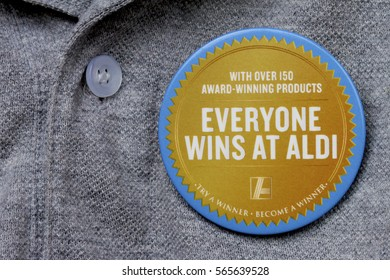 NEWCASTLE, AUSTRALIA - January 26 2017: Aldi badge promoting Aldi supermarkets. Aldi is rapidly gaining market share in Australia due to competitive pricing and quality.