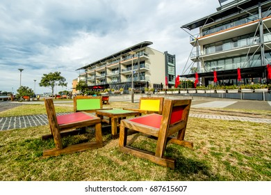 NEWCASTLE, AUSTRALIA - JULY 29, 2017: Honeysuckle, a vibrant waterfront where the Harbour meets the City. Restaurants, cafes, public space, exhibits & live entertainment make it a must for visitors.