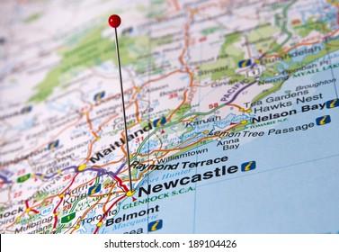 Newcastle in Australia in the map