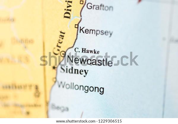 Australia Map Newcastle.Newcastle Australia On Geography Map Stock Photo Edit Now 1229306515