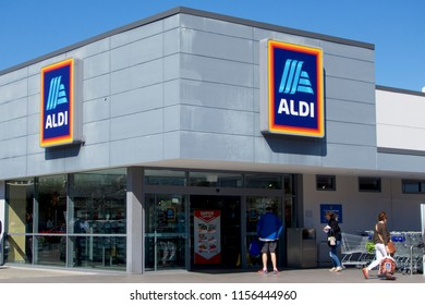 NEWCASTLE CBD, NSW, AUSTRALIA-AUGUST 15, 2018: ALDI Australia is one of Australia's most unique retailers. With a comprehensive range of high quality groceries and other goods at every day prices.