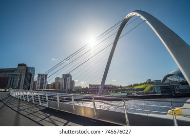 Newcastle, England - 2 October 2017: Gateshead Millennium Bridge, a pedestrian and cyclist tilt bridge spanning the River Tyne in Newcastle, England.