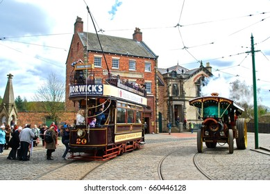 NEWCASTLE, ENGLAND - APRIL 5. The Great North Festival of Transport at Beamish Museum featured historic tramcars from Newcastle on April 5, 2012, Newcastle, England.