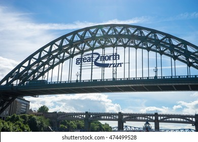 NEWCASTLE, ENGLAND - AUGUST 24: Tyne Bridge, Newcastle/Gateshead. A bridge that crosses the Tyne, taken on August 24th, 2016 at Newcastle, England. Great North Run ad is on Tyne Bridge.