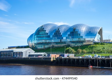 NEWCASTLE, ENGLAND - AUGUST 24th 2016: Sage Gateshead, a concert hall on Newcastle/Gateshead Quayside. For musical education, performance and conferences. Located on the south bank of the River Tyne.