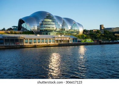 NEWCASTLE, ENGLAND - AUGUST 6, 2015: Sage Gateshead, a concert hall on Newcastle/Gateshead Quayside.  For musical education, performance and conferences.  Located on the south bank of the River Tyne.