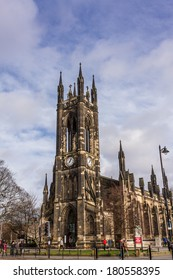 NEWCASTLE, ENGLAND - FEBRUARY 13, 2014: The Church Of St Thomas The Martyr in Newcastle, England. It is a 19th-century Anglican re-foundation of a medieval chapel