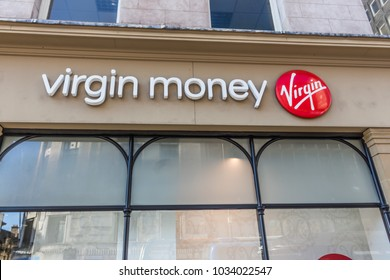NEWCASTLE, ENGLAND - February 17, 2018: Virgin money retail sign and facade. The Virgin Money chain is available in Australia, South Africa, United Kingdom and USA.