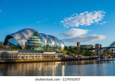Newcastle, England - July 29, 2018: Sage Gateshead concert hall on Newcastle Gateshead Quayside on a beautiful summer afternoon.