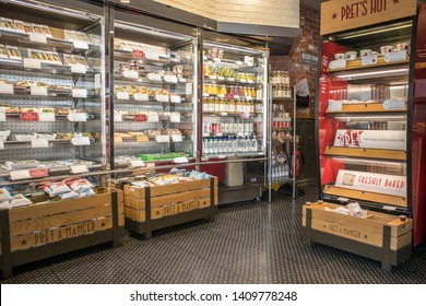 Newcastle / England - Mar 18, 2019 : Hot and cold food in heated and chilled display units in cafe style fast food shop store.  Pret A Manger