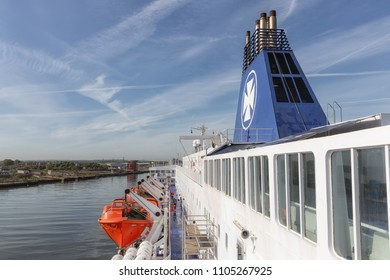 Newcastle, England - May 18, 2018: Ferry from IJmuiden in the Netherlands arriving in Newcastle harbor