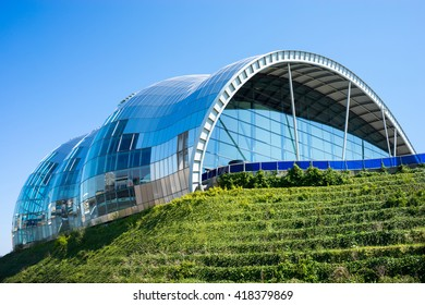 NEWCASTLE, ENGLAND - MAY 9, 2015: Sage Gateshead, a concert hall on Newcastle/Gateshead Quayside. For musical education, performance and conferences. Located on the south bank of the River Tyne.