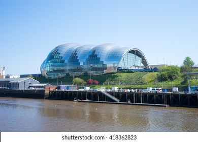 NEWCASTLE, ENGLAND - MAY 9th 2016: Sage Gateshead, a concert hall on Newcastle/Gateshead Quayside. For musical education, performance and conferences. Located on the south bank of the River Tyne.