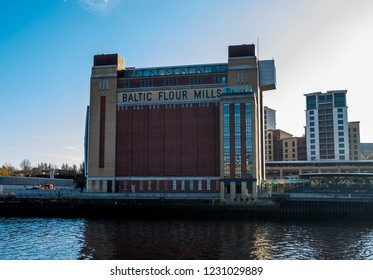 Newcastle, England. November 15. 2018. View of the Baltic Centre for Contemporary Arts from the quayside of Newcastle Upon Tyne.