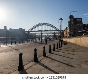 Newcastle, England. November 15. 2018. Thomas Cook Seaside venue on the Newcastle Quayside with the Tyne Bridge in the horizon.
