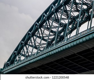 Newcastle, England November 4, 2018. View Of The Arched Tyne Bridge From the Quayside On A Cloudy Day Took From The Quayside.