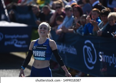 Newcastle, England, September 8,2019:Charlotte Purdue recast after finishing the Women's Ellite Race during the 2019 Simplyhealth Great North Run .