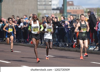 Newcastle, England, September 9th 2018:Sir Mo Farah of Great Britain in the Great North Run 2018 at Tyne Bridge the famous of Newcastle.