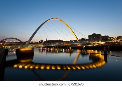 Newcastle and Gateshead Millennium Bridge at sunset