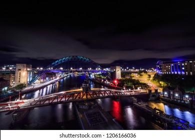 Newcastle and gateshead riverside at night