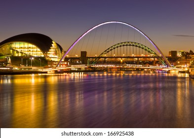 Newcastle and Gateshead at sundown showing Tyne Bridges.