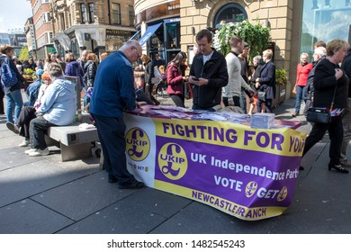 Newcastle / Great Britain - May 11, 2019 : UKIP UK Independance Party political canvassing table in public street promoting Brexit.
