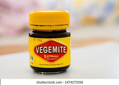 Newcastle, New South Wales, Australia- 03 August 2019: Vegemite bottle, close up.