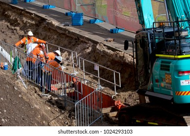 NEWCASTLE, NSW, AUSTRALIA - FEBRUARY 13, 2018: Downer EDI working in Scott Street to replace old sewer pipes and other services in preparation for the laying of a light railway,