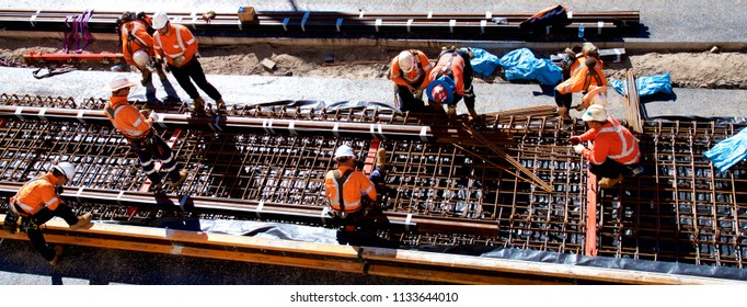 NEWCASTLE, NSW, AUSTRALIA - JULY13, 2018: Preparing formwork for a concrete pour on the Newcastle Light Rail project. This is part of the revitalising programme. Cost: $650m.
