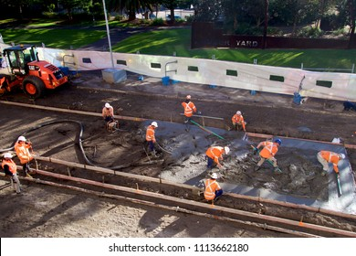 NEWCASTLE, NSW, AUSTRALIA - JUNE 16, 2018: Concrete pour during construction of the light rail project (for the tram) in Scott Street near the Lumber Yard.