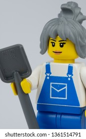 NEWCASTLE, NSW/ AUSTRALIA - March 23 2019: Close up image of lego minifigure posing as a builder against a white background