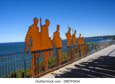Newcastle, NSW, Australia, - May 12th 2015.  Recently constructed ANZAC Memorial Bridge featuring names of almost Hunter Valley men and women who served during the Great war of 1914 - 1918.