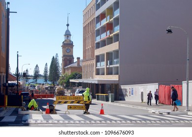 NEWCASTLE, NSW, AUSTRALIA - MAY 23, 2018: Construction zone for a $650m light rail project in Watt Street. Expected completion in 2019.
