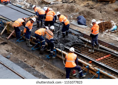 NEWCASTLE, NSW, AUSTRALIA-AUGUST 6, 2018: Concrete pour for the Newcastle Light Rail or tram project to revitalise the city centre.