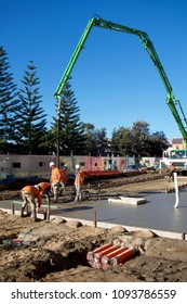 NEWCASTLE, NSW, AUSTRALIA-MAY 18, 2018: Concrete pour in Scott Street part of $650m construction project to provide a light rail (tram) network by NSW government.