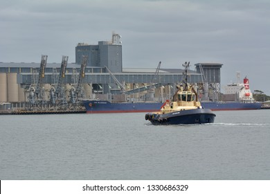 NEWCASTLE, NSW - FEB 2019: Tugboat boat and a tanker in Port of Newcastle in Newcastle New South Wales, Australia. The Port of Newcastle is one of Australia's largest and most diverse ports.