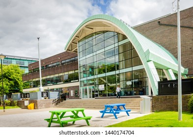 Newcastle, Tyne and Wear / England - July 02 2019: The Student Union building at Northumbria University in the north of England